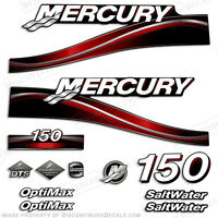 2005 Red Mercury 150hp Saltwater Optimax Outboard Engine Decals Reproduction Kit
