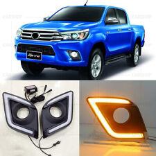 For Toyota Hilux Revo Pickup 15-20 LED DRL Front Daytime Running Light Turn Lamp
