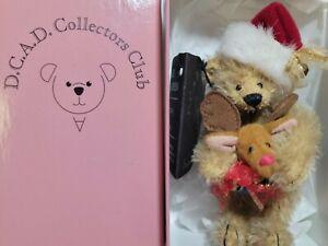 "Deb Canham  ""Holiday Santa"" DCAD  NIB 3.25"" miniature artist  teddy bear mohair"