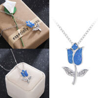 Elegant 925 Silver Jewelry Flower Blue Fire Opal Charm Pendant Necklace Chain