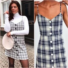 SALE Navy Blue Strappy Checked Buttons Mini Dress S M UK 8 10 US 4 6 Blogger ❤