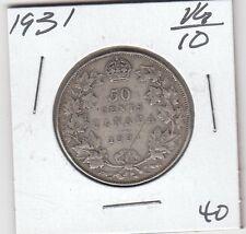 CANADA 1931 50 Cents Silver Coin