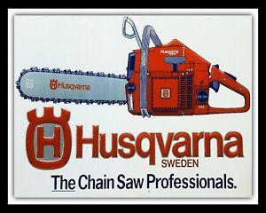 """10"""" x 8"""" HUSQVARNA PETROL CHAINSAW CHAIN SAW TREE CUTTING,METAL PLAQUE SIGN 690"""