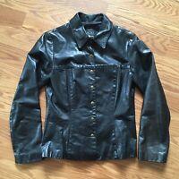 BCBG Maxazria Black Leather Jacket Womens Small Made In USA