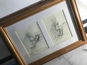 Winnie The Pooh UP and DOWN THE STAIRS Framed First Sketch Drawing E H Shepherd