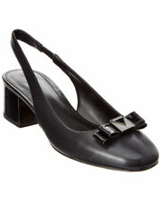Michael Kors Caroline 6 Black Slingback Sling Small Block Heel Bow Work Pumps MK