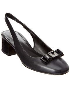 Michael Kors Caroline 7 Black Slingback Sling Small Block Heel Bow Work Pumps MK