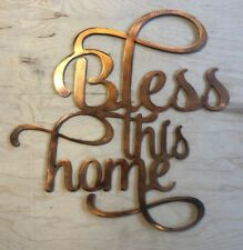Bless This Home Wall Art Sign Rustic Copper Patina