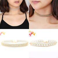 Women Gold Choker Collar Rhinestone Crystal Pendant Chain Necklace Jewelry Gift