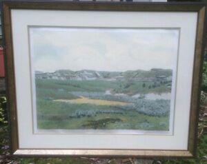 "Gordon Mortensen ""Foxtail & Sage"" Hand Signed Woodcut Reduction Art 1975 Listed"