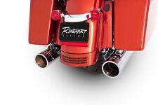"""Rinehart Chrome Exhaust 4"""" Slip On Mufflers Chrome Tips for Harley Touring 95-up"""