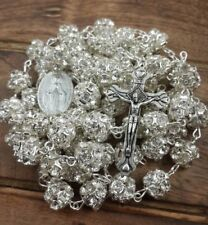 White Clear Zircon Crystal Beads Rosary Catholic Necklace Miraculous Medal Cross