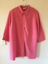 Womens MAGGIE T 3/4 sleeve Blouse Shirt Long Top Tunic size 18 Pink