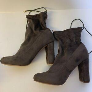 Liliana Women Boots Kenzy-3 Faux Suede Chunky Heel Drawstring 7.5 NEW
