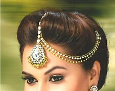 Traditional and Ethnic Gold Kundan Maang Tikka and Matha Patti - Hair Jewellery