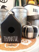 Rae Dunn THANKFUL Black Birdhouse w/white letters thanksgiving fall farmhouse