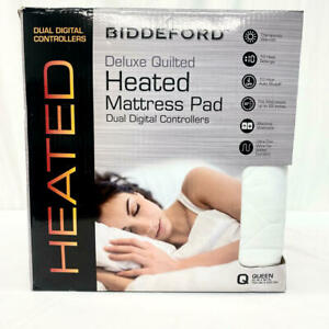 Biddeford Deluxe Quilted Heated Mattress Pad Queen Dual Digital Controls