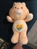 "Vintage 1983 Kenner Care Bears Friendship Bear Plush Peach Sunflowers 13"""