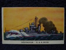 Rare 1942 USS BUCK DD420 Destroyer Cameron Sales TRADING CARD US Navy WWII WW2