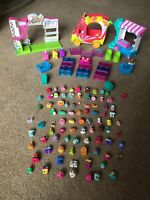 Shopkins Bundle Figures X 80 + Fruit Cart Hotdog Stand Extras VGC !