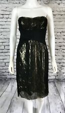 BADGLEY MISCHKA Silk Gold Metallic Strapless Cocktail Dress Size 4
