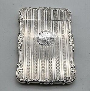 NICE LARGE SIZE ANTIQUE ATERLING SILVER CARD CASE BIRMINGHAM 1874