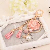 Flowers Gold Color Bag Ring Jewelry Charm KeyChain Key Chain Tassel Keyring
