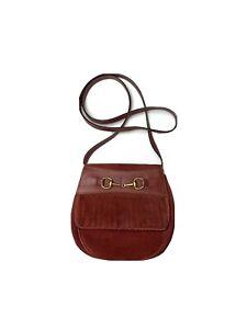 Gucci Vintage Horsebid Shoulder Bum Bag Red Suede Leather
