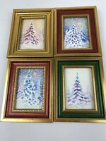 Winter Trees By Thomas Brady Watercolors 1998 Set Of 4 With Frames Williamsburg