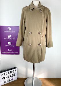 Vintage Aquascutum Double Breasted Beige Pure Wool Grandma Coat Size 12