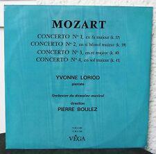 Vega Mozart-Concerto No 1 2 3 4 2 LP Yvonne Loriod Pierre bpoulez pianoforte