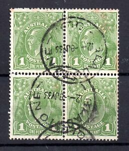Australia KGV Heads 1d green WMK C  of A Block Gladstone CDS WS18192