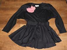 schwarzes Kostüm SHELANA London Longbluse + Rock mit Gürtel Abendkleid
