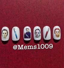 Michael Myers nail art (water decals) Horror Film nail Art. Halloween Nail Art