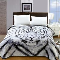 Queen Size Korean Style Mink Blanket Two Ply Heavy Duty 11 LBS Black Grey Tiger