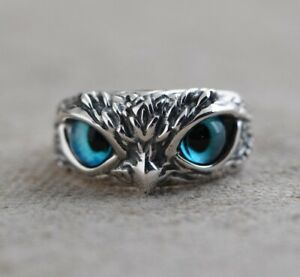 925 Sterling Silber Eulen-Augenring für Mädchen Frauen Liebhaber Retro Tier Ring