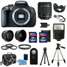 Canon EOS Rebel T5I 700D Body + 3 Lens Kit 18-55mm IS STM + 24GB + Flash & More