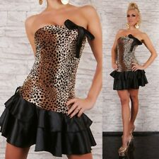 SeXy Miss Damen Girly Bandeau Volant Mini Kleid XS/S leo braun schwarz satin Neu
