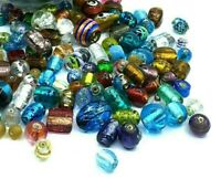 100g Lampwork Schmuck perlen Indische Glasperlen Mixform Bunt Konvolut Best MIX2