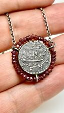 850k Silver Coin Necklace With Garnet Beads Around The Coin