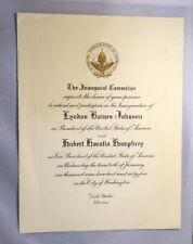 1965 Inauguration Invitation Lyndon Johnson & Hubert Humphrey, 11 1/4 X 8 1/2
