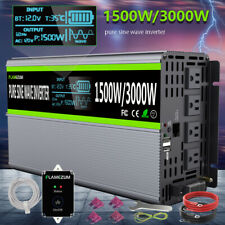 Car Power Inverter DC 12V To AC 120V Pure Sine Wave 1500W 3000W Solar Converter
