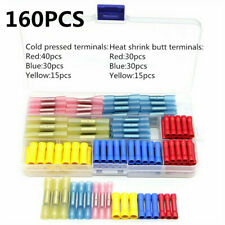 160PCS Insulated Butt Splice Tube Wire 10-26AWG Connectors Crimp Terminals Set