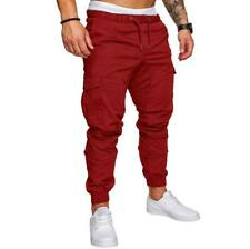 Men's Slim Fit Urban Straight Leg Trousers Casual Pencil Jogger Cargo Pants