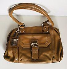 Tignanello Tan Brown Pebbled leather Tote Satchel With Buckle Detail Handbag EUC