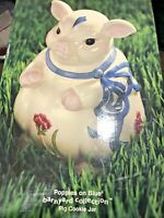 RARE Lenox Poppies on Blue  Cookie Jar PIG Barnyard NOS IN BOX