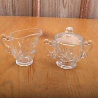 Vintage Leaf Pattern Double Handle Glass Sugar Bowl With Lid and Creamer
