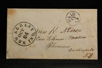 Indiana: New Albany 1850s Stampless Cover, Black CDS & Circled PAID 3