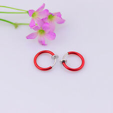 *NEW* Red Clip On Fake Earrings Body Piercing- Ear Septum Lip Navel Eyebrow,10mm