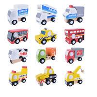 12pcs/set Mini Vehicle Car Wooden Educational Toys For Baby Kids Children SH